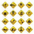 Warning Signs for dangers in sea, ocean, beach and rivers — Stock Vector