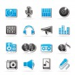 Stock Vector: Music and audio equipment icons