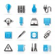 Electrical devices and equipment icons - Stock Vector