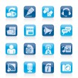 Blogging, communication and social network icons - Stock Vector