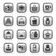 Hotel and motel services icons - Stok Vektör