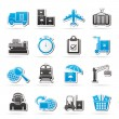 Cargo, shipping and logistic icons — Stock Vector