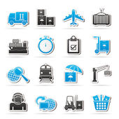 Cargo, shipping and logistic icons — Vettoriale Stock
