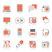 Communication and connection technology icons — Stock Vector