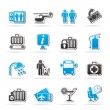 Airport, travel and transportation icons — Stock Vector #29653795