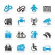 Airport, travel and transportation icons — Stockvectorbeeld