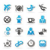 Flugzeug, flughafen und flugzeug-symbole — Stockvektor