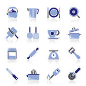 Kitchen gadgets and equipment icons — Stock Vector