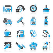 Car wash objects and icons — Stock Vector