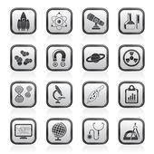 Icônes de science, de recherche et d'éducation — Vecteur
