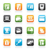 Kitchen appliances and equipment icons - vector icon set — Stock Vector