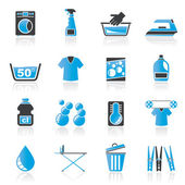 Washing machine and laundry icons — Stock Vector