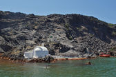 Church to hot volcanic springs — Stock Photo