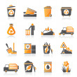 Garbage and rubbish icons — Vector de stock