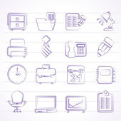 Business and office equipment icons — Stock Vector