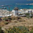 Stock Photo: White windmill and Mykonos town, island of Mykonos