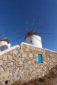 White windmill on the island of Mykonos — Stock Photo
