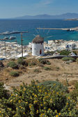White windmill and Mykonos town, the island of Mykonos — Stock Photo