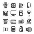 Silhouette Computer Performance and Equipment Icons — Stock Vector #34616969
