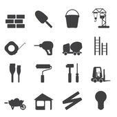 Silhouette Construction and Building Icons — Stock Vector