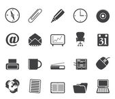 Silhouette Office tools icons — Stock Vector
