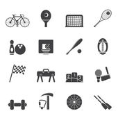 Silhouette Simple Sports gear and tools icons — Stockvektor