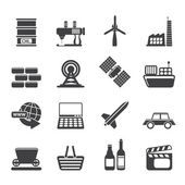 Silhouette Simple Business and industry icons — Stock Vector