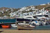 Port of Mikonos Town, island of Mykonos — Stock Photo