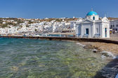 Port of Mikonos Town and church, island of Mykonos — Stock Photo