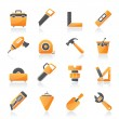 Construction objects and tools icons — Stock Vector