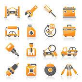 Iconos de auto partes y servicios — Vector de stock