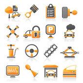 Bil delar och tjänster ikoner — Stockvektor