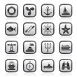 Marine and sea icons — Stockvectorbeeld