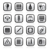 Electrical devices and equipment icons — Stock Vector