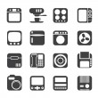 Silhouette Home and Office, Equipment Icons — Stock Vector