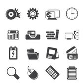 Silhouette Computer, mobile phone and Internet icons — Stock Vector