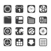 Silhouette mobiltelefon, dator och internet ikoner — Stockvektor