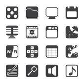 Iconos de silueta teléfono oficina, internet y rendimiento — Vector de stock