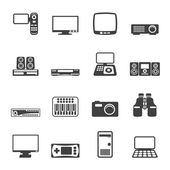 Silhouette Hi-tech technical equipment icons — Stockvektor