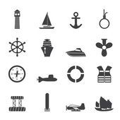 Silhouette Simple Marine, Sailing and Sea Icons — Stock Vector