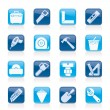 Construction objects and tools icons — Stock vektor