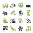 Stock Vector: Car wash objects and icons