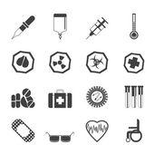 Silhouet eenvoudige medische thema pictogrammen en waarschuwingssignalen — Stockvector