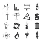 Silhouette Electricity, power and energy icons — Stock Vector