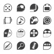 Silhouette Phone Performance, Internet and Office Icons — Imagen vectorial