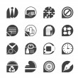 Silhouette Simple Business and Office Icons — Imagen vectorial