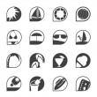 Silhouette Simple Summer and Holiday Icons — Image vectorielle