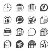 Silhouette Business and Office Internet Icons — Stock Vector
