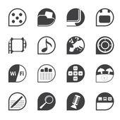 Silhouet telefoon prestaties, internet en office-pictogrammen — Stockvector