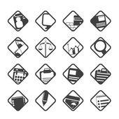 Sylwetka ikon biurowych i biznesowych — Wektor stockowy